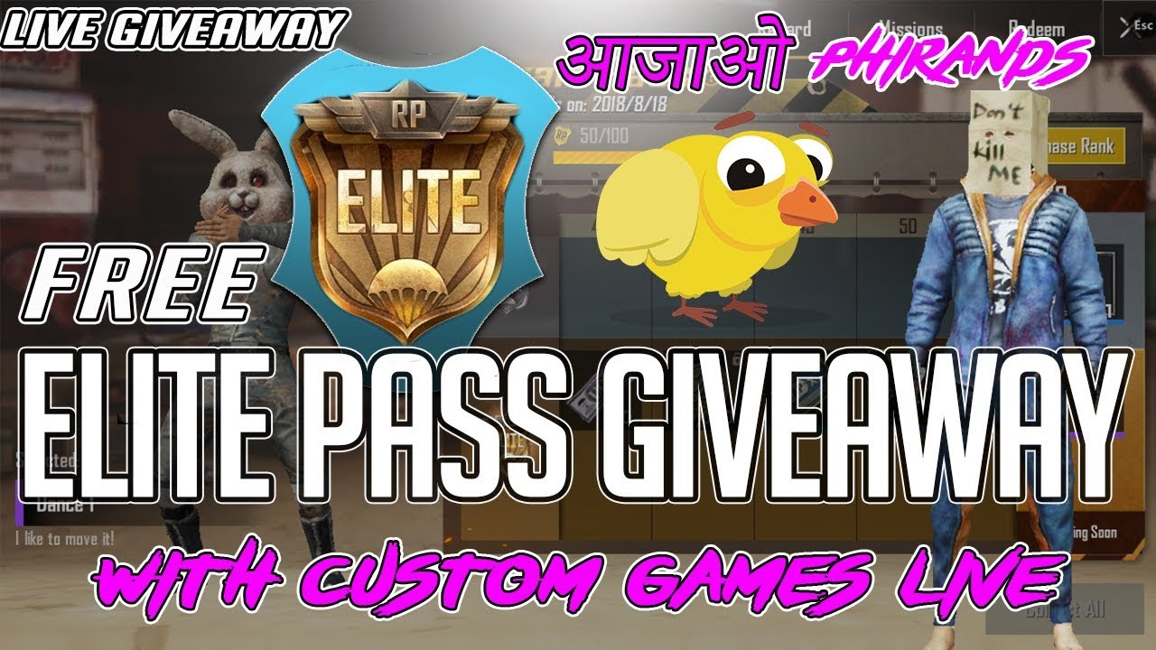 PUBG mobile live : Elite pass GIVEAWAY pubg mobile live   SUBSCRIBER games! Live hindi gameplay
