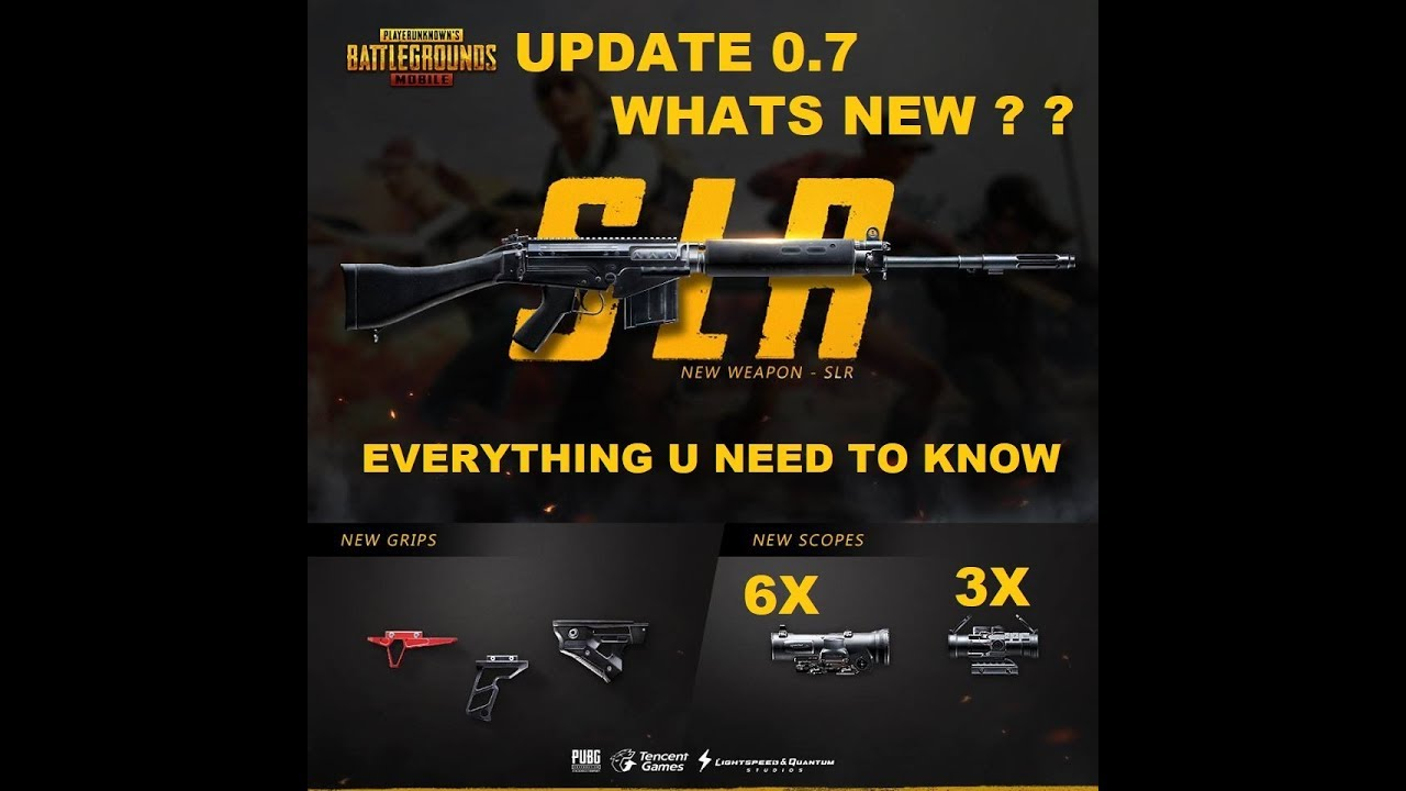 PUBG MOBILE MAINTENANCE IS OVER, WHATS NEW IN UPDATE 0.7, NEW GUN SLR, 3X,6X SCOPE
