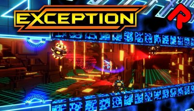 EXCEPTION gameplay: Supercool Synthwave Combat Platformer! (PC, PS4, Switch, XBox One game)